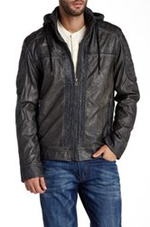 X Ray Faux Leather Hooded Jacket Gray