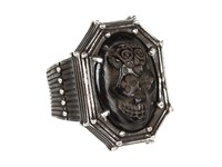King Baby Studio Jet Day Of The Dead Skull In Rivet Frame Jet Ring Black