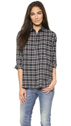 6397 Popover Button Down Shirt Black White Plaid
