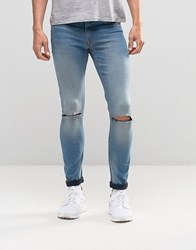 Asos Spray On Jeans In Mid Wash With Knee Rips Mid Blue