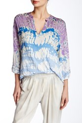 Gypsy05 3 4 Length Sleeve Pocket Henley Blouse Multi