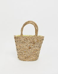 Warehouse X Shrimps Straw Bucket Bag With Daisy Embellishment In Natural Brown