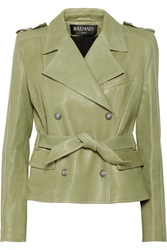 Balmain Leather Biker Jacket Green