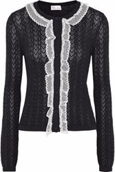 Red Valentino Ruffled Tulle Trimmed Pointelle Knit Wool Cardigan Black