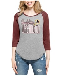 47 Brand '47 Women's Washington Redskins Club Block Raglan T Shirt Gray Maroon