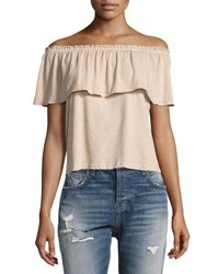 Current Elliott The Ruffle Off The Shoulder Top White