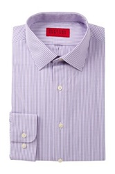 Alexander Julian Check Print Long Sleeve Tapered Fit Shirt Purple