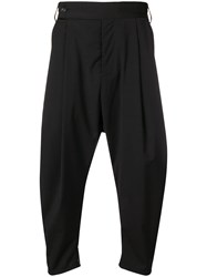Odeur Drop Crotch Pleated Trousers Black