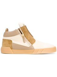 Giuseppe Zanotti Design Urban Shark Hi Top Sneakers Men Leather Suede Rubber 42 Nude Neutrals