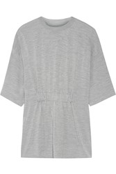 Maison Martin Margiela Ruched Wool And Silk Blend Sweater Gray