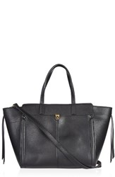 Topshop Harlow Winged Faux Leather Satchel Black