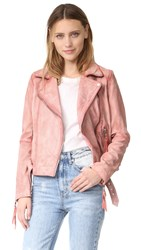 Free People Pink Leather Moto Jacket