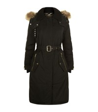 Burberry Fur Trimmed Down Filled Parka Coat Female Black