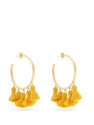 Marte Frisnes Raquel Gold Plated Tassel Hoop Earrings Yellow