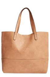 Sole Society Oversize Faux Leather Shopper Brown Camel