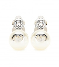 Gucci Clip On Faux Pearl Earrings White