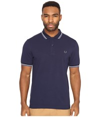Fred Perry Slim Fit Twin Tipped Polo Carbon Blue Ecru Dusk Men's Short Sleeve Knit