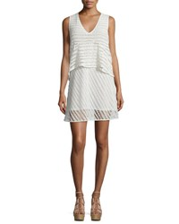 See By Chloe Sleeveless Sheer Stripe Popover Dress White