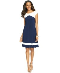 American Living Colorblocked Cap Sleeve Dress Navy White