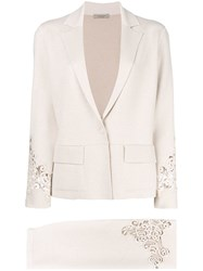 D.Exterior Two Piece Skirt Suit Nude And Neutrals