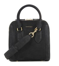 Alexander Mcqueen Medium Heroine Nubuck Suede Shoulder Bag Black