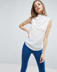 Asos Sleeveless Top With Ruched High Neck Ivory White