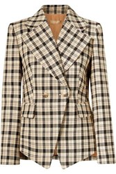 Michael Kors Collection Double Breasted Checked Wool Blazer Neutral