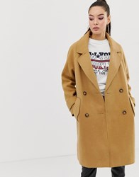 Missguided Cocoon Coat In Camel Brown