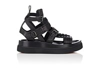 Christian Louboutin Men's Marathon Flat Leather Sandals Black