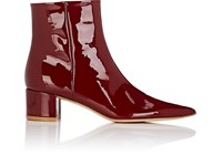 Gianvito Rossi Block Heel Patent Leather Ankle Boots Wine