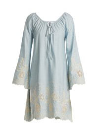 Athena Procopiou Gypset Floral Embroidered Cotton Dress Light Blue