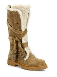 Moncler Janis Suede Shearling And Rabbit Fur Boots Chocolate