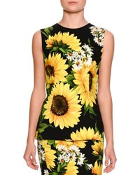 Dolce And Gabbana Sleeveless Sunflower Print Cady Top Black White Black Yellow