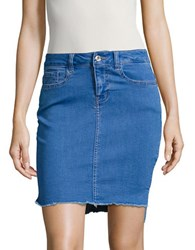 Vero Moda Frayed Hem Denim Skirt Blue