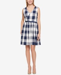 Tommy Hilfiger Cotton Checkered Wrap Dress Only At Macy's Navy Ivory Multi