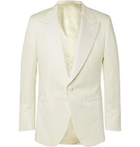 Kingsman Ivory Faille Trimmed Cotton Linen And Silk Blend Tuxedo Jacket White