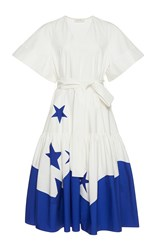 Delpozo Short Sleeve Star Printed Dress White