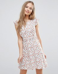 Yumi Frill Sleeve Sundress In Floral Stripe Print White