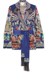 b5fca028c808 Camilla Darling's Destiny Embellished Printed Silk Crepe De Chine Jacket  Blue