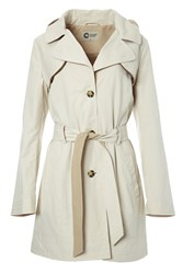 Covert Overt Cotton Hooded Belted Jacket Brown