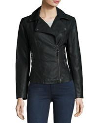 Max Studio Faux Leather Moto Jacket Black