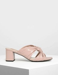 Charles And Keith Ruched Mules Nude