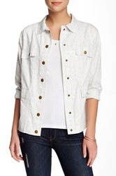 Michael Stars Printed Snap Front Jacket White