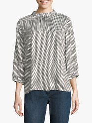 Betty And Co. Graphic Print Blouse Cream Black