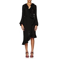 Juan Carlos Obando Washed Cotton Blend Wrap Front Dress Black