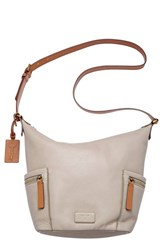 Fossil 'Small Emerson' Pebbled Leather Hobo Grey Mineral Grey