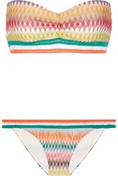 Missoni Mare Rhombus Crochet Knit Bandeau Bikini Orange