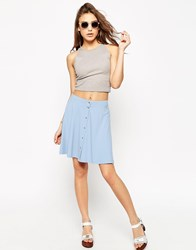 Asos Mini Skater Skirt With Poppers Light Blue