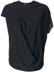 Lost And Found Ria Dunn Short Sleeve Draped Blouse Black