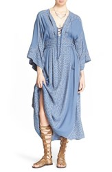 Women's Free People 'Modern Kimono' Maxi Dress Denim Combo